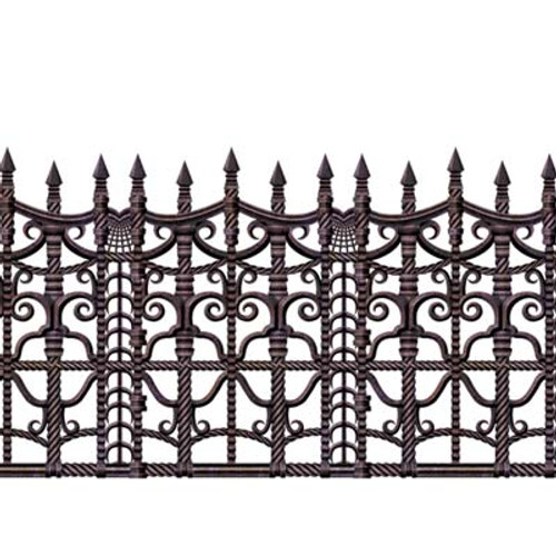 Pack of 6 Brown and Black Creepy Fence Halloween Border Decors 30' - IMAGE 1