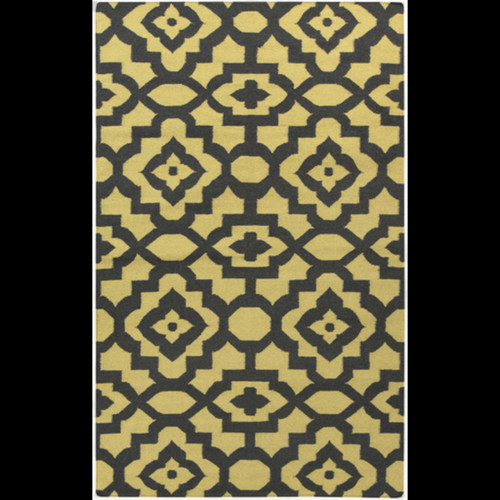 3.5' x 5.5' Floral Yellow and Black Hand Woven Wool Rectangular Area Throw Rug - IMAGE 1
