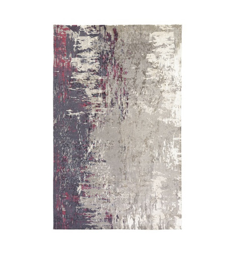 4' x 6' Gray and White Contemporary Rectangular Area Throw Rug - IMAGE 1