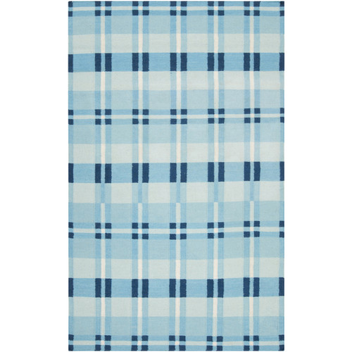 8' x 11' White and Blue Rectangular Wool Area Throw Rug - IMAGE 1