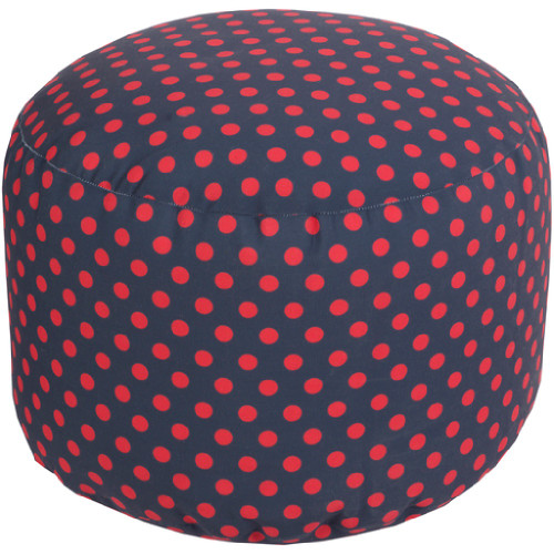 "20"" Navy Blue and Cherry Red Simply Polka Dot Round Outdoor Patio Pouf Ottoman - IMAGE 1"
