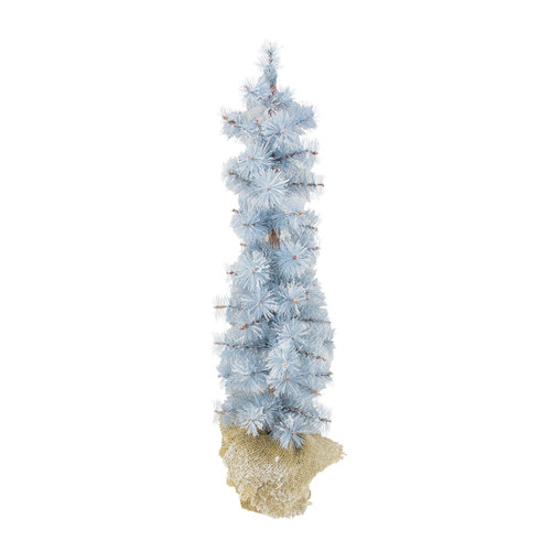 2' Blue Potted Frosted Pine Slim Artificial Christmas Tree - Unlit - IMAGE 1