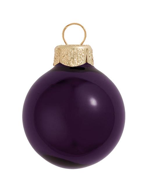 "2ct Purple Shiny Glass Christmas Ball Ornaments 6"" (150mm) - IMAGE 1"