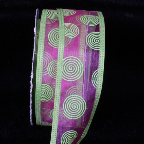 """Pink and Lime Green Sheer Wire Edged Craft Ribbon 1.5"""" x 80 Yards - IMAGE 1"""
