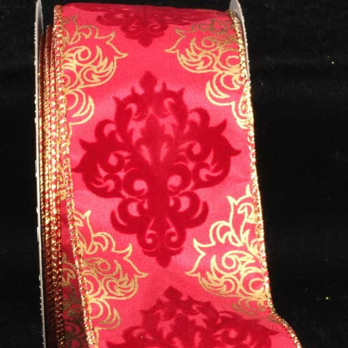 "Red and Gold Damask Wired Craft Ribbon 2.5"" x 20 Yards - IMAGE 1"