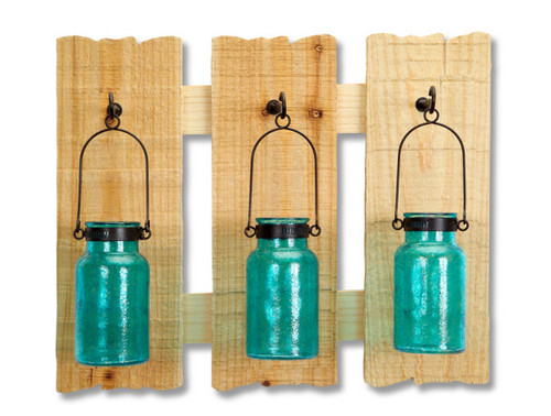 """16.5"""" Blue and Brown Hanging Glass Jars Wall Plaque - IMAGE 1"""