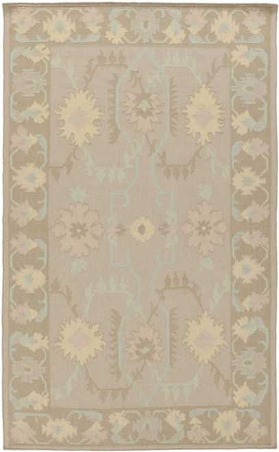 3.5' x 5.5' Perennial Blossom Gray and Ivory Hand Woven Rectangular Wool Area Throw Rug - IMAGE 1