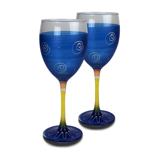 Set of 2 Blue and White Hand Painted Wine Drinking Glasses 10.5 oz. - IMAGE 1
