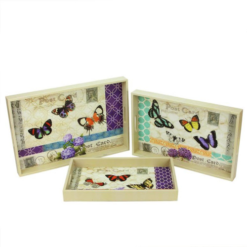 """Set of 3 Ivory and Purple Butterflies Rectangular Serving Trays 19"""" - IMAGE 1"""