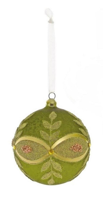 """Green and Gold Beaded Glass Ball Christmas Ornament 4"""" (101 mm) - IMAGE 1"""