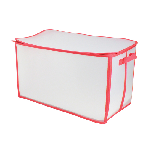 """21"""" White and Red Holiday Collections Solid Zip Up Christmas Storage Bag - IMAGE 1"""