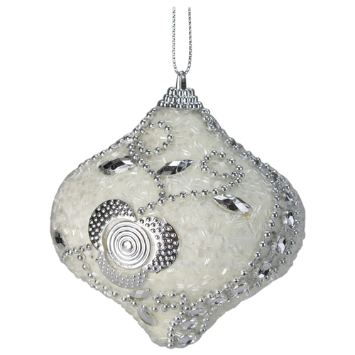 """3ct White and Silver Shatterproof Beaded Christmas Onion Drop Ornaments 3"""" - IMAGE 1"""