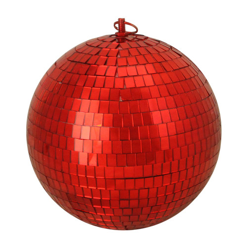 """Shiny Red Hot Mirrored Disco Glass Christmas Ball Ornament 8"""" (200mm) - IMAGE 1"""