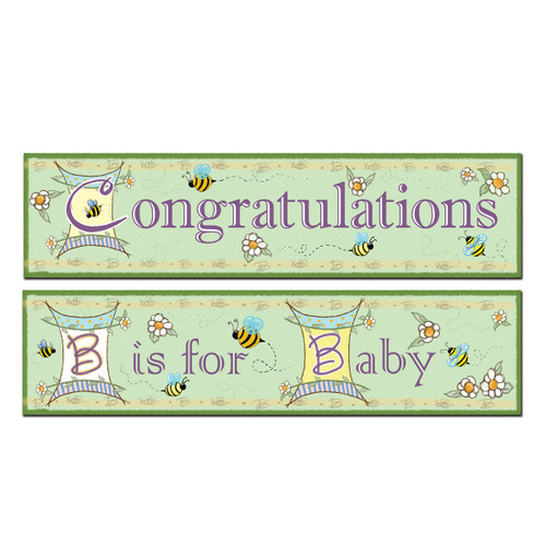 Club Pack of 12 Purple Baby and Congratulations Party Banners Decors 5' - IMAGE 1
