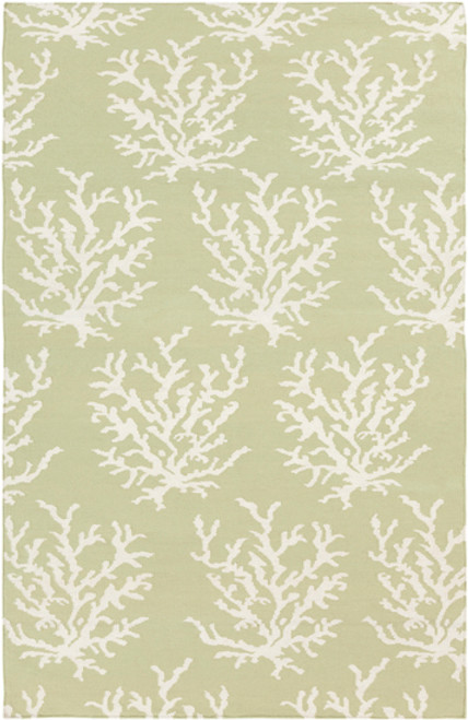2' x 3' Green and Ivory Leaves Hand Woven Area Throw Rug - IMAGE 1