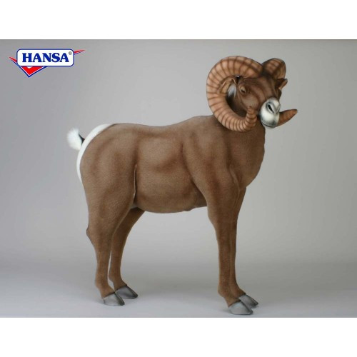 "41"" Brown and White Handcrafted Big Horn Ram Stuffed Animal - IMAGE 1"