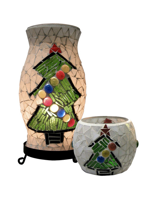 """10"""" Black Christmas Combo Accent Lamp with White and Green Mosaic and Matching Votive - IMAGE 1"""