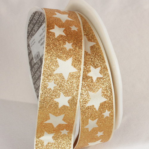 """Gold and White Stars Wired Craft Ribbon 1.5"""" x 27 Yards - IMAGE 1"""
