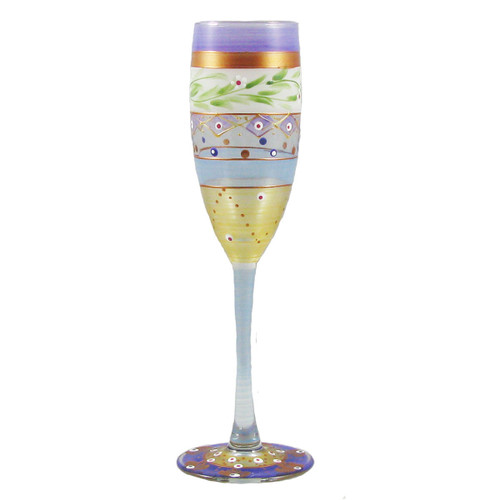 """Set of 2 Purple Mosaic Garland and Stripes Hand Painted Champagne Flute Glasses 7"""" - IMAGE 1"""