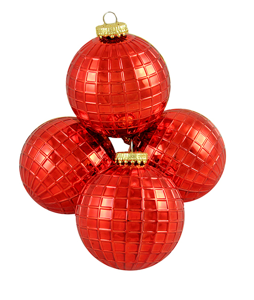 """4ct Red Shatterproof Shiny Christmas Ball Ornaments 2.75"""" (70mm) - IMAGE 1"""