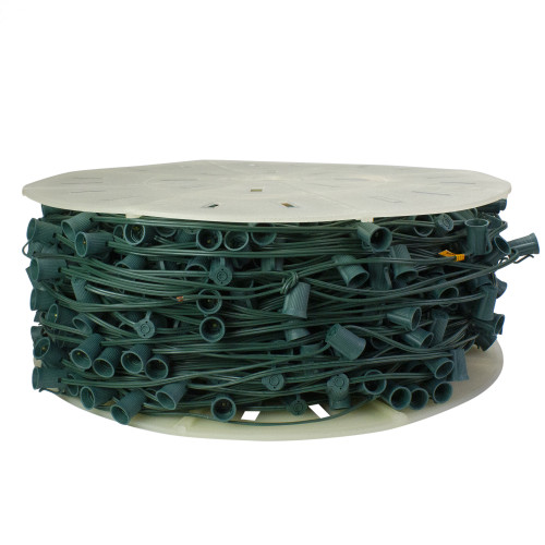 """1000' Commercial C9 Socket Sets Spool - 12"""" Spacing Green Wire - IMAGE 1"""