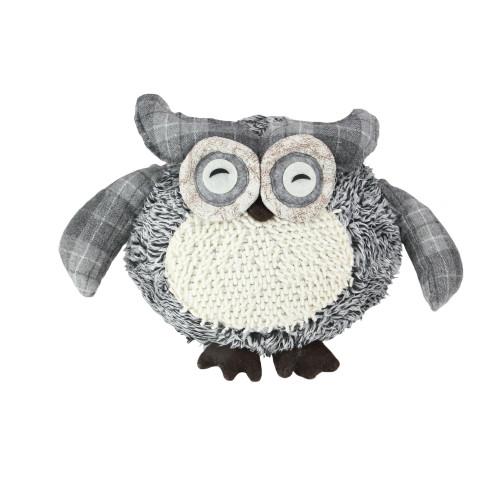 "12"" Charming Gray Plaid Owl w/ Textured Ivory Plush Table Top Christmas Figure - IMAGE 1"