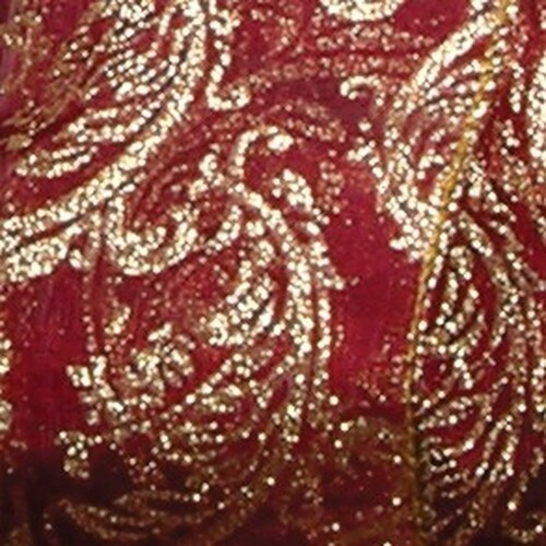 "Shimmering Red Sheer Ornamental Print Wired Craft Ribbon 4"" x 20 Yards - IMAGE 1"