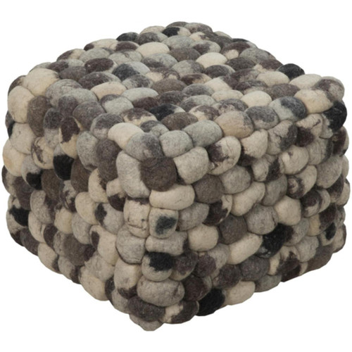 """18"""" Midnight Black, Ivory and Gray Shag Checkerboard Wool Square Pouf Ottoman - IMAGE 1"""