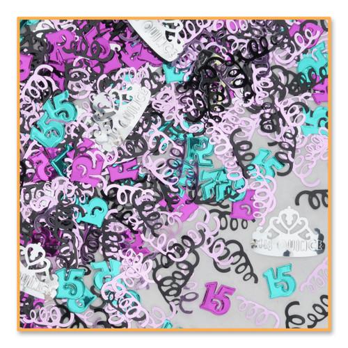 Pack of 6 Metallic Multi-Colored Mis Quince Quinceanera Celebration Confetti Bags 0.5 oz. - IMAGE 1