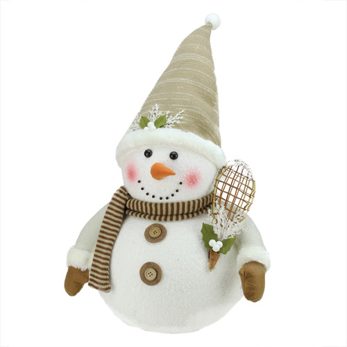 "20"" Brown and White Snowman with Snowshoes Christmas Tabletop Decor - IMAGE 1"
