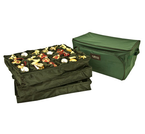 """27"""" Green 3-Tray Christmas Ornament Storage Bag - Holds 72 Ornaments - IMAGE 1"""