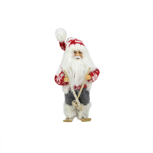 """9"""" Red and White Frontier Reindeer Skiing Santa Claus Christmas Figurine - IMAGE 1"""