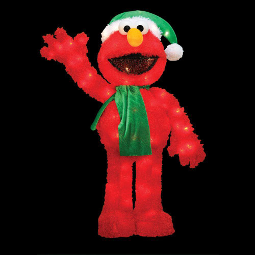 32 Pre Lit Soft Faux Fur Sesame Street Elmo Christmas Decoration Clear Lights Christmas Central