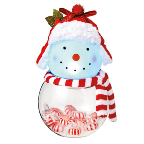"""8.5"""" Battery Operated Snowman Touch Activated Color Changing LED Lighted Glass Candy Jar - IMAGE 1"""