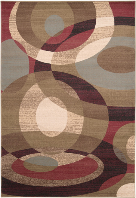 5.25' x 7.5' Beige and Brown Geometric Rectangle Area Throw Rug - IMAGE 1