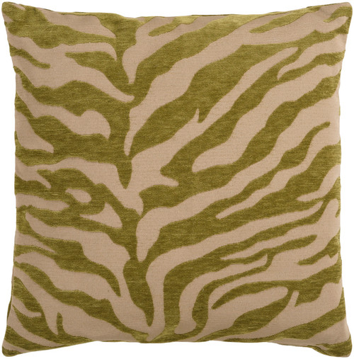 """22"""" Olive Green and Beige Contemporary Square Throw Pillow – Down Filler - IMAGE 1"""