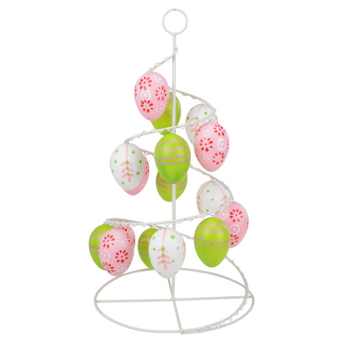 """14.25"""" White and Green Cut-Out Easter Egg Tree Tabletop Decor - IMAGE 1"""