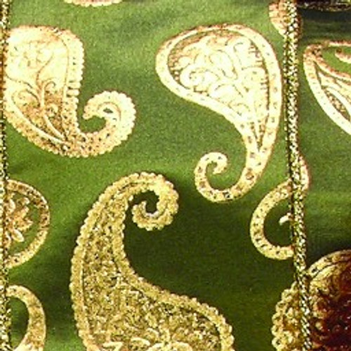 "Green and Gold Paisley Wired Craft Ribbon 3"" x 20 Yards - IMAGE 1"