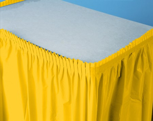 Pack of 6 School Bus Yellow Pleated Disposable Plastic Picnic Party Table Skirts 14' - IMAGE 1