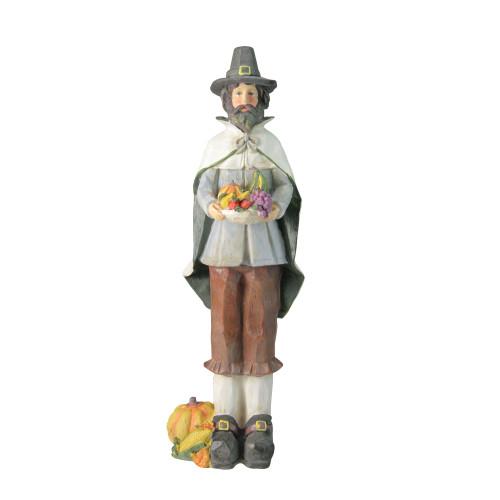 "13.75"" Autumn Harvest Wood Carved Thanksgiving Pilgrim Man Decorative Figure - IMAGE 1"