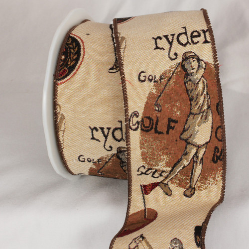 """Beige and Brown Golf Tapestry Wired Craft Ribbon 3"""" x 9 Yards - IMAGE 1"""