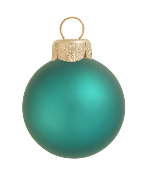 """40ct Turquoise Green Matte Glass Christmas Ball Ornaments 1.5"""" (40mm) - IMAGE 1"""