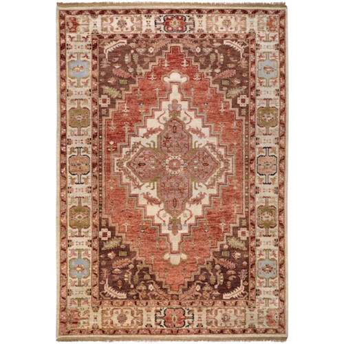 5.5' x 8.5' Fire Pit Brown and Biege Hand Knotted New Zealand Wool Rectangular Area Throw Rug - IMAGE 1