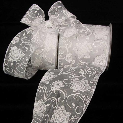 "White Roses Sheer Wired Craft Ribbon 5"" x 20 Yards - IMAGE 1"