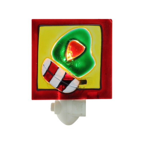 """3.5"""" Christmas Traditions Red and White Striped Green Holiday Mitten Night Light - IMAGE 1"""