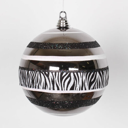 "Black and White Zebra Print 2-Finish Shatterproof Christmas Ball Ornament 8"" (200mm) - IMAGE 1"