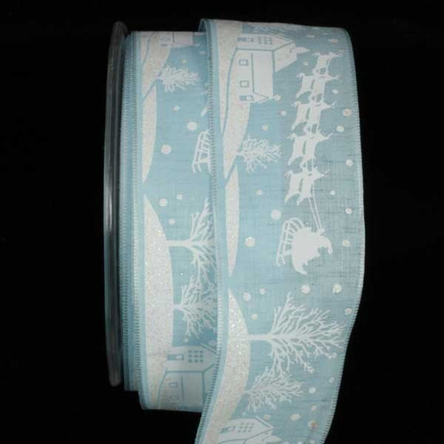 """Ice Blue and White Santa on Sleigh Wired Craft Ribbon 1.5"""" x 27 Yards - IMAGE 1"""