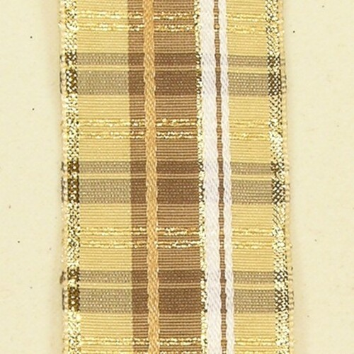 """Ivory and Gold Plaid Wired Craft Ribbon 1.5"""" x 27 Yards - IMAGE 1"""