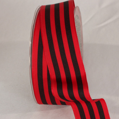 """Red and Black Striped Wired Craft Ribbon 1.5"""" x 27 Yards - IMAGE 1"""