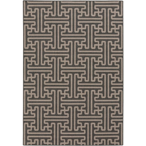 5.25' x 7.5' Egyptian Maze Espresso Brown and Ash Taupe Shed-Free Area Throw Rug - IMAGE 1